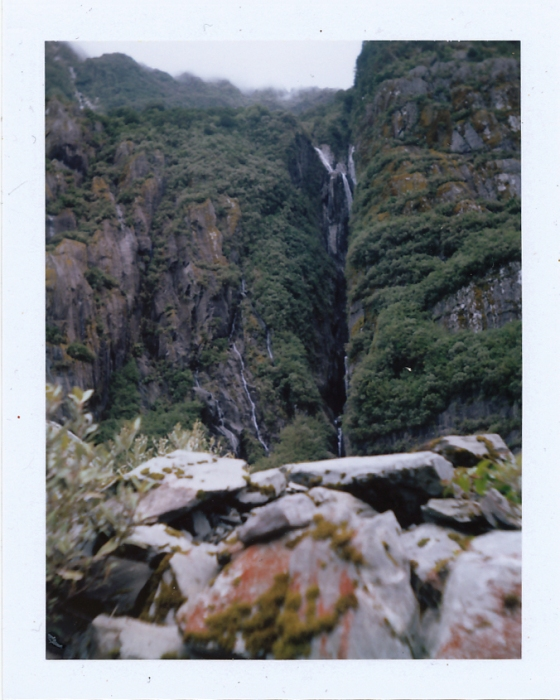 Polaroid of Waterfalls at Franz Josef Glacier