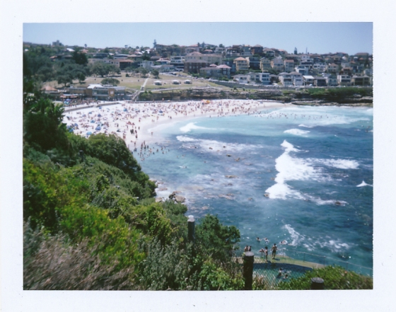 Polaroid of Bronte Beach during summer holidays