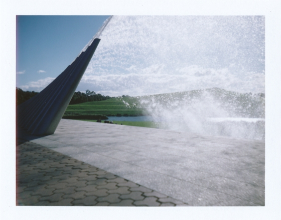 A Polaroid of a fountain inside the Sydney Olympic Park, Australia