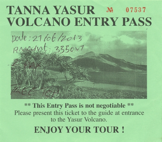 Entrance ticket for Mt Yasur: Tanna, Vanuatu