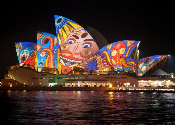 Sydney Opera House during the Vivid light festival: Sydney, Australia