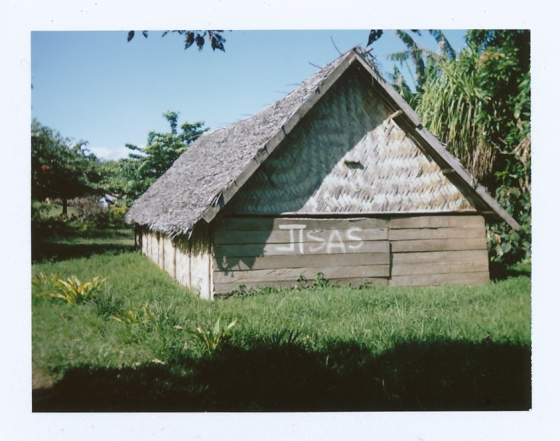 Polaroid of a hut in Port Resolution: Tanna, Vanuatu