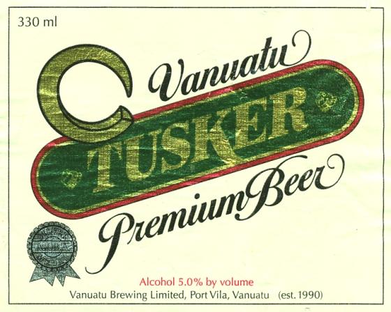 Lable on Tusker Beer, Vanuatu