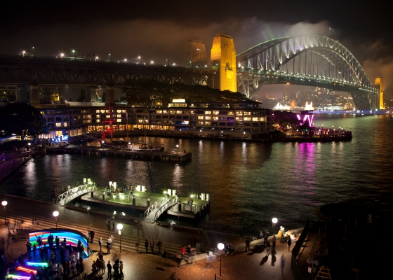 Sydney Harbour during the Vivid light festival: Sydney, Australia