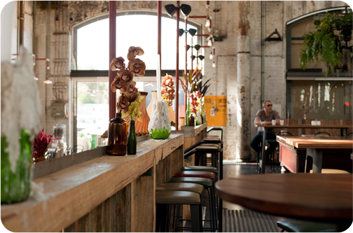 Cornerstone Cafe inside the Carriageworks building: Sydney, Australia