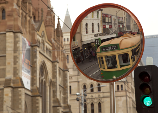 Downtown Melbourne and historic tram: Melbourne, Australia
