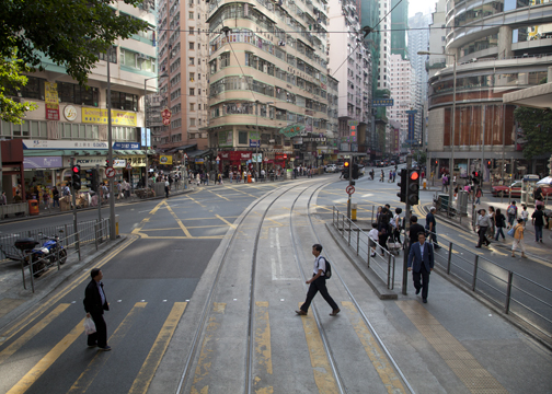 Crosswalk intersection on Hong Kong Island