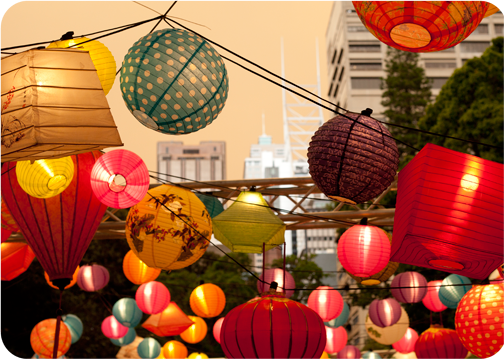 Lanterns in Hyde Park for the Night Noodle Market: Sydney, Australia