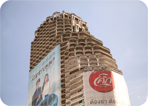 A tower with a temple-like facade in Bangkok, Thailand