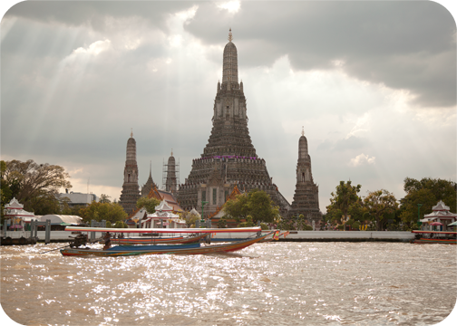 View of Wat Arun from the Chao Phraya: Bangkok, Thailand