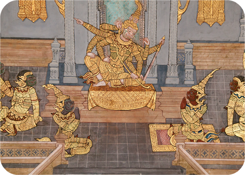 Mural inside the Grand Palace: Bangkok, Thailand
