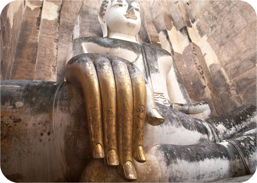The gold-leaf-covered hand at Wat Si Chum: Sukhothai, Thailand