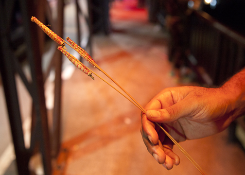 The small handmande fireworks that are so popular during Yee Peng: Chiang Mai, Thailand