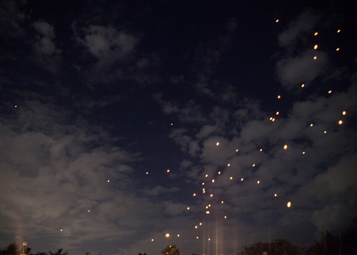 The night sky just before the lanterns were released for the Yee Peng Festival: Chiang Mai, Thailand