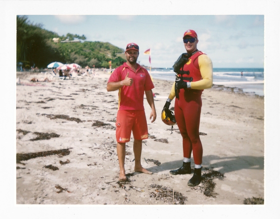 Polaroid of Surf Life Savers (one in a stinger suit): Queensland, Australia