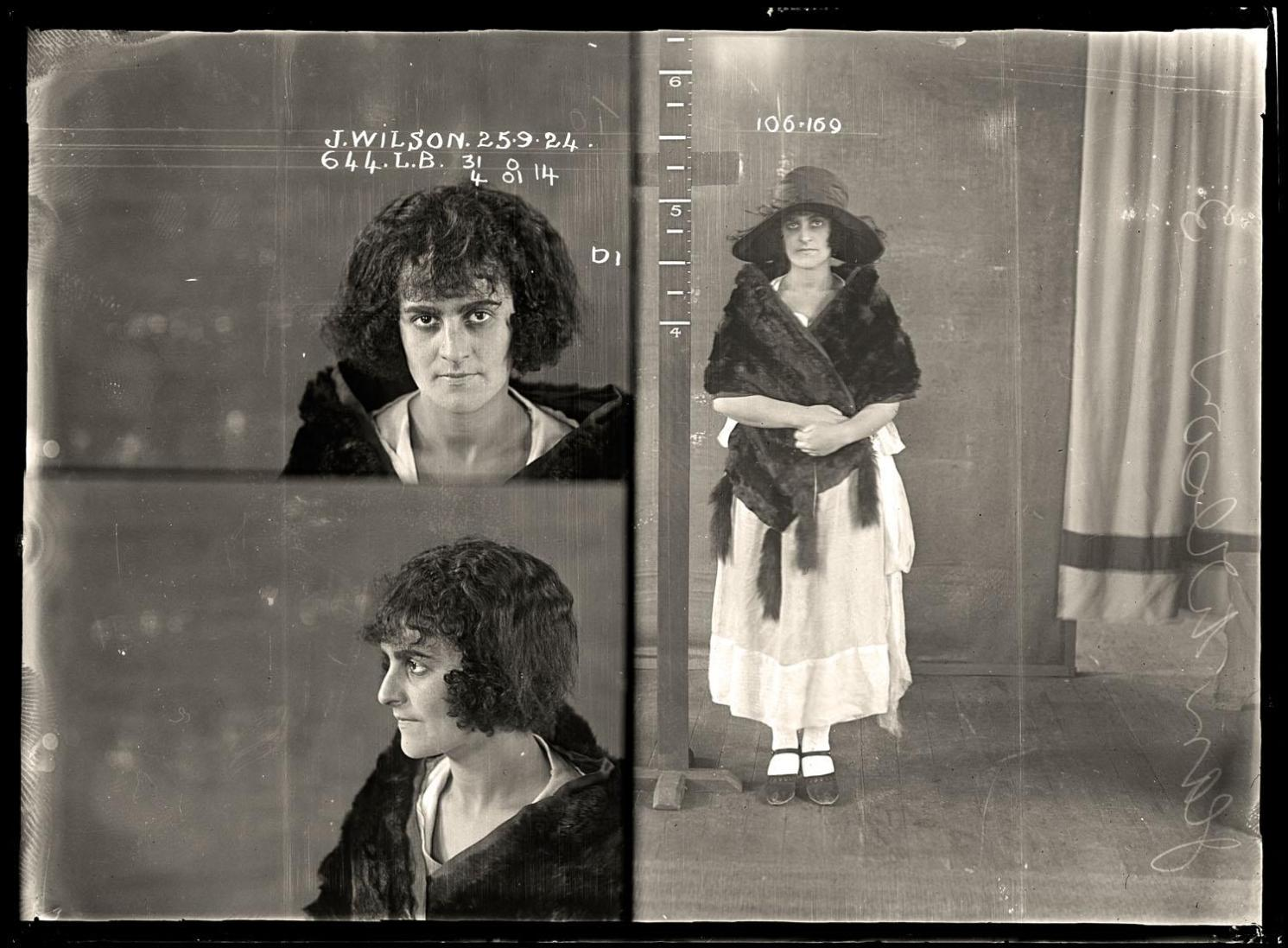 Jean Wilson, criminal record number 644LB, 25 September 1924. State Reformatory for Women, Long Bay, NSW.