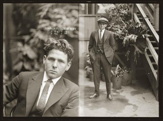 Mug shot of Alfred Fitch, 18 August 1924, location unknown, but possibly Darlinghurst Police Station.