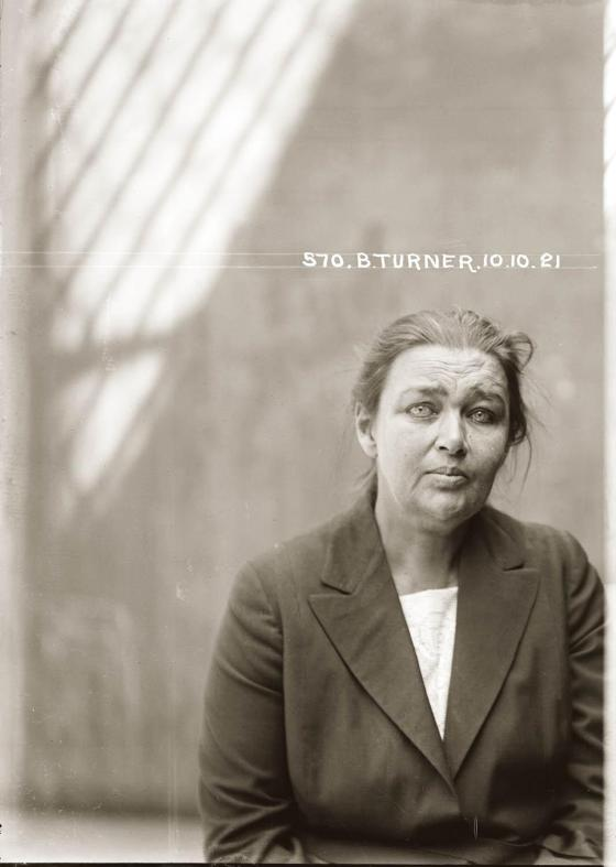 Mug shot of Barbara Turner, 10 October 1921, Central Police Station, Sydney.