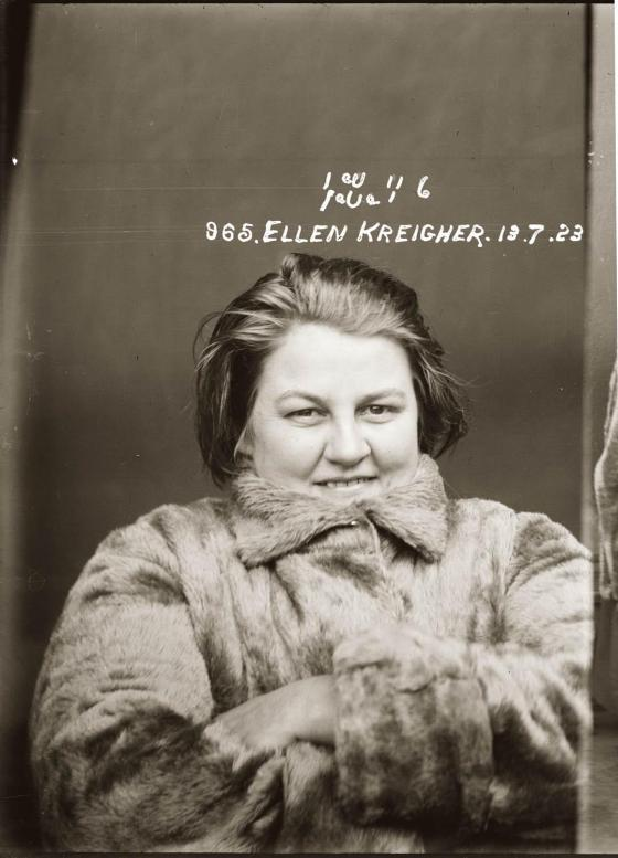 Mug shot of Ellen Kreigher, 13 July 1923, Central Police Station, Sydney.