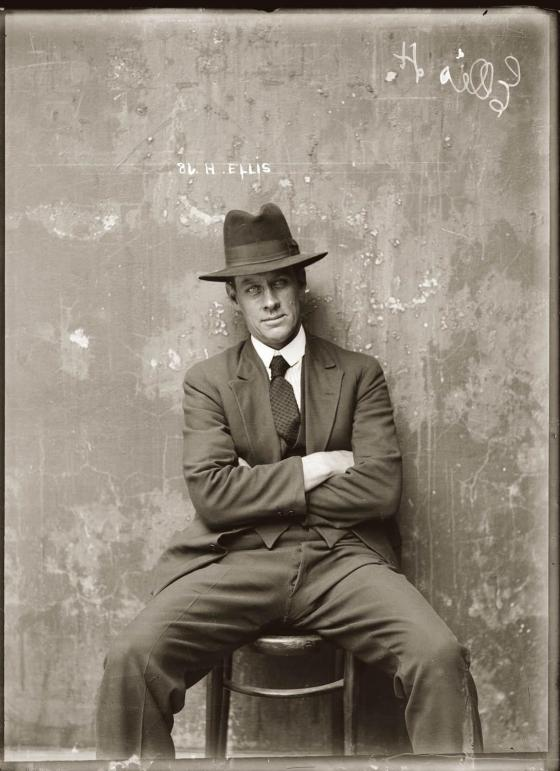 Mug shot of Herbert Ellis. Presumed Central Police Station, Sydney, around 1920.