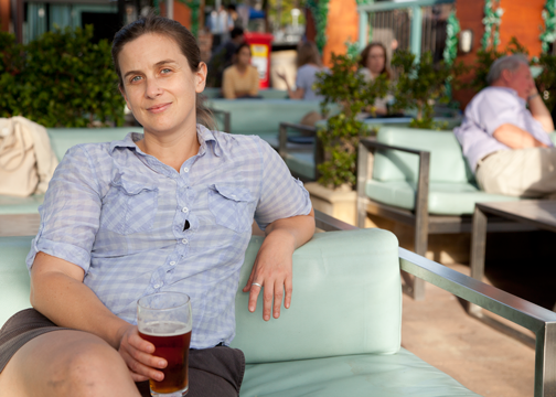 Jo enjoying a beer on the patio of the Newport Arms Hotel: Pittwater, Australia