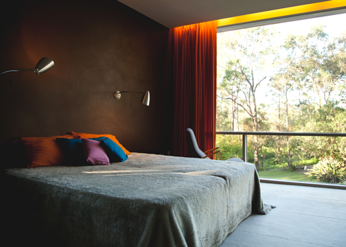 Master bedroom inside the Rose Seidler House: Wahroonga, Australia