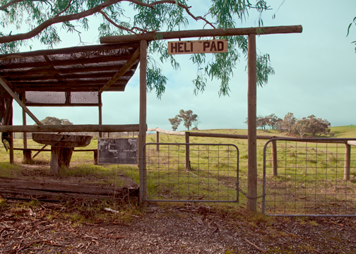 Heli pad outside the Chateau Yaldara: Barossa Valley, South Australia