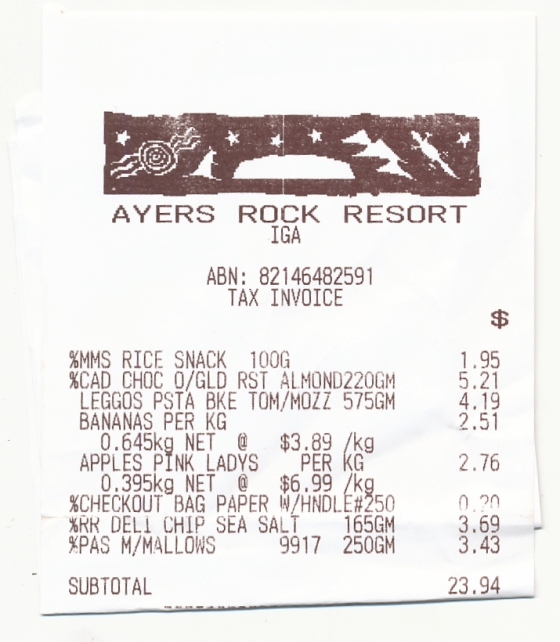 Receipt from Ayers Rock Resort: Northern Territory, Australia