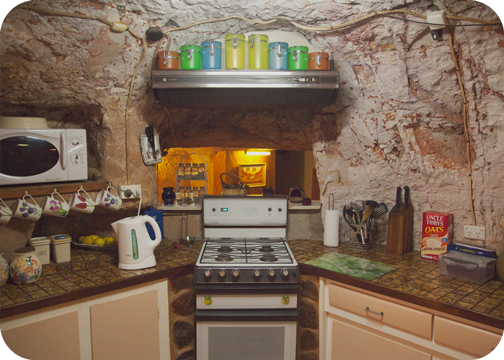 Kitchen at Faye's Underground House: Coober Pedy, South Australia
