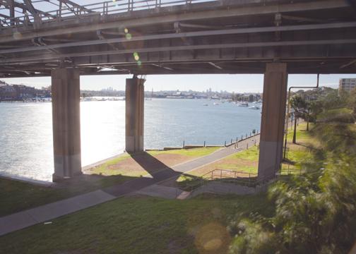 Bridge over the Iron Cove walkway: Sydney, Australia