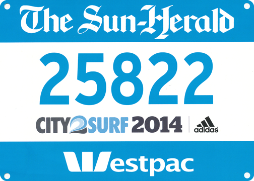 City 2 Surf runners bib: Sydney, Australia
