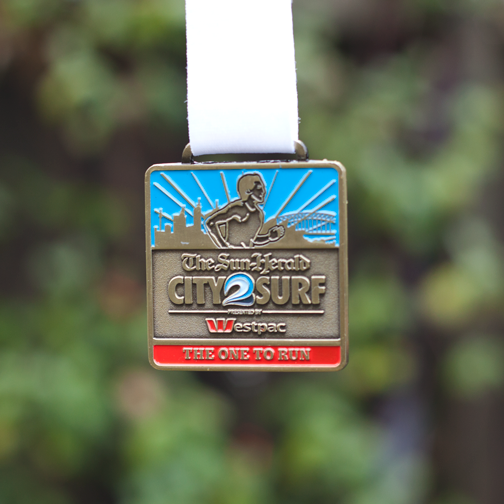 Medal given out at the 2014 City 2 Surf: Sydney, Australia