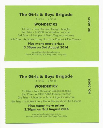 Wonder 102 Boys and Girls Brigade raffle tickets: Sydney, Australia