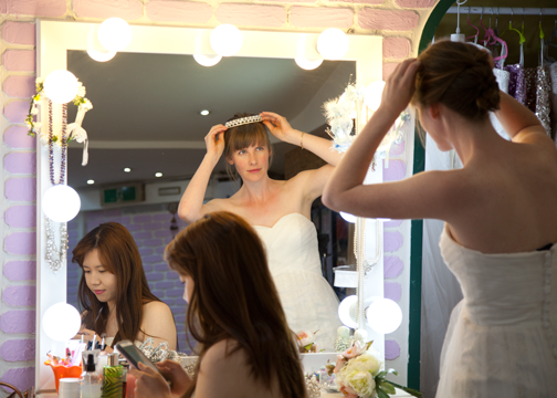 Choosing accessories at a dress cafe in Ehwa: Seoul, South Korea