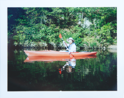 Polaroid of Barret kayaking on the Occoquan River: Manassas, Virginia