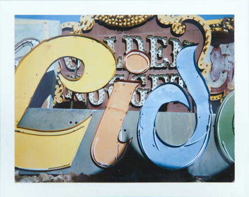 Polaroid of the Lido neon sign: Neon Museum Boneyard: Las Vegas