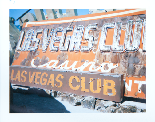 Polaroid of the Las Vegas Club neon sign: Neon Museum Boneyard, Las Vegas