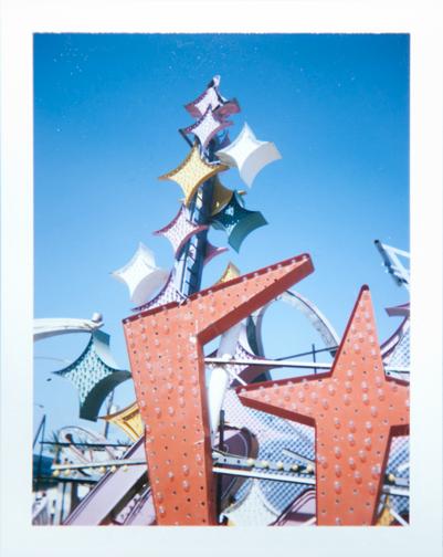 Polaroid of the Stardust neon sign: Neon Museum Boneyard: Las Vegas
