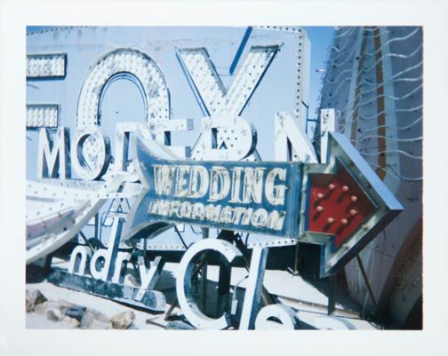 Polaroid of wedding neon sign. Neon Museum Boneyard: Las Vegas