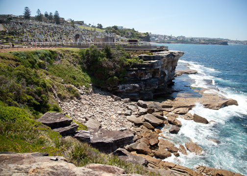 Overlooking the Waverly Cemetary on the Bondi to Coogee walk: Sydney, Australia