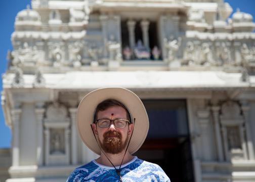 Barret outside the Sri Venkateswara Temple in Helensburgh: Australia