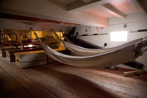 Crew's hammocks aboard the HMB Endeavour: Sydney, Australia