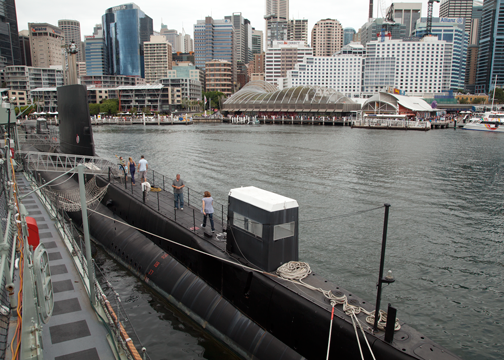 The surfaced HMAS Onslow inside the Darling Harbour: Sydney, Australia