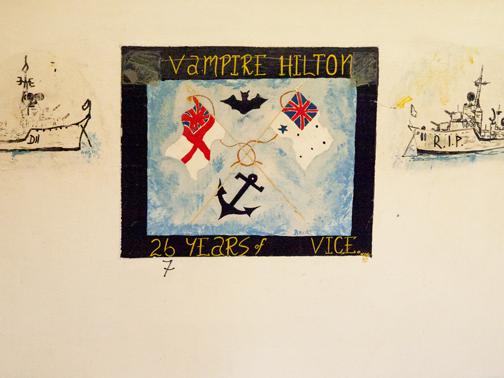 Mural inside the dining room of the HMAS Vampire: Sydney, Australia