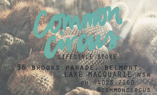 Common Circus business card: Lake Macquarie, Australia