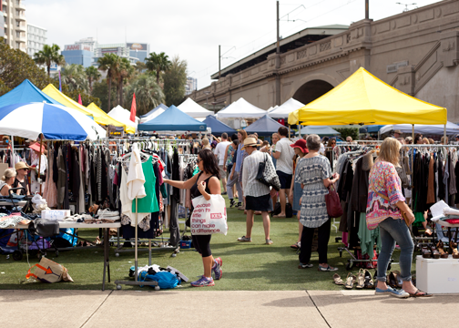 Secondhand clothing stalls at the Kirribilli Market: Sydney, Australia