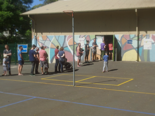 Voters outside the Newtown Public Polling Place: Sydney, Australia