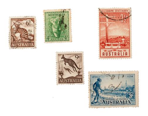 Vintage Australian stamps from the Rozelle Markets: Sydney, Australia