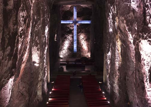 Main nave of the underground Salt Cathedral: Zipaquira, Colombia