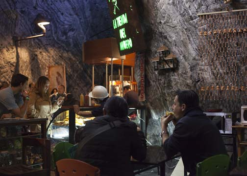 The underground cafe at the Salt Cathedral: Zipaquira, Colombia